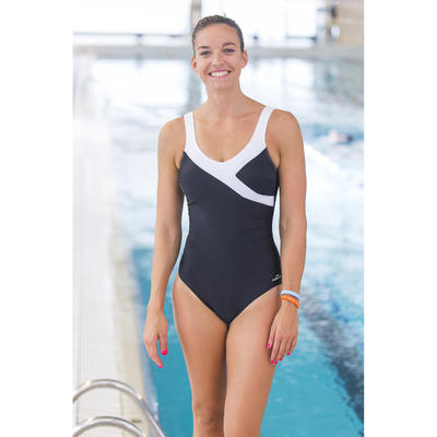 Women's aquafitness Karli one-piece body-sculpting swimsuit - black white