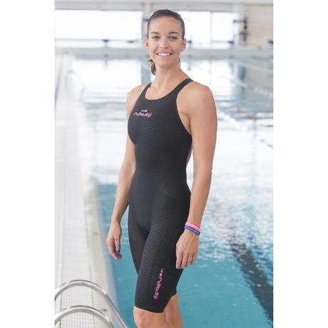 Jet Womens Open Back Pu Swimming Suit Black Nabaiji