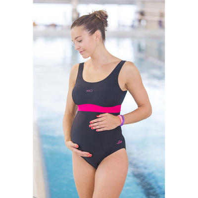 Romane Women's One-Piece Maternity Swimsuit - Black Pink