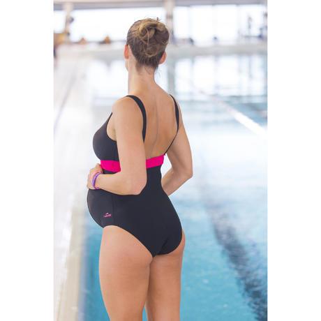 09fae41bcbb11 Romane Women's One-Piece Maternity Swimsuit - Black Pink | Nabaiji