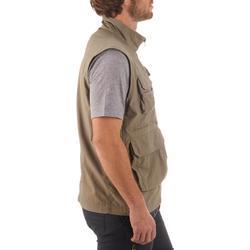 男款多口袋多日登山旅行背心TRAVEL 100 - 米色