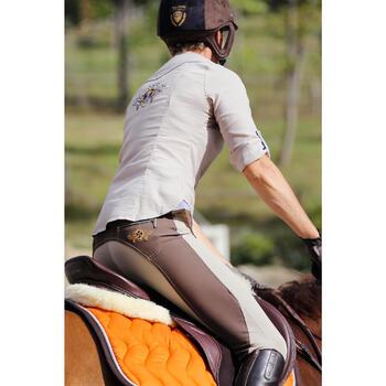 """Selle polyvalente en cuir à arçon réglable équitation cheval PADDOCK 17""""5 - 448843"""