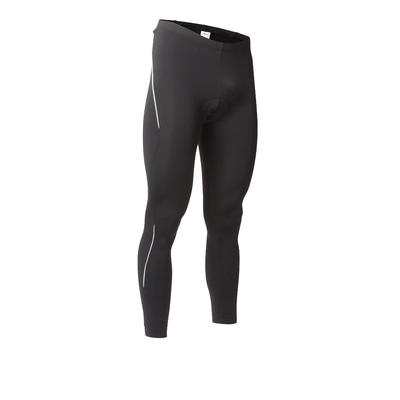 Men's Road Cycling and Bike Touring Long Winter Bibless Tights RC100 - Black