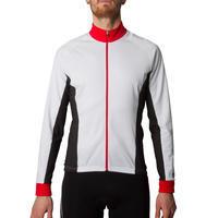 Langarm-Fahrradtrikot 500 Herren weiß/rot