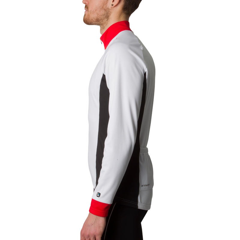 Maillot manches longues vélo homme 500 blanc rouge