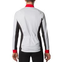 Maillot manches longues vélo homme 500 blanc rouge