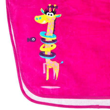 Baby girls' pink cotton poncho with giraffe print and hood