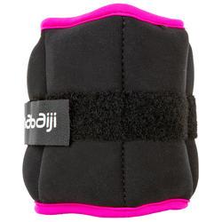 Verzwaarde polsbandjes voor aquafitness zwart/roze - 452660