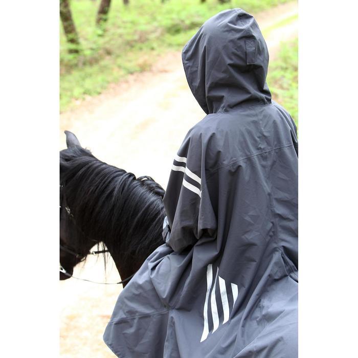 Poncho equitación adulto SENTIER gris oscuro con tiras reflectantes