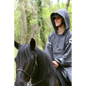 Poncho Equitación Fouganza Sentier Adulto Gris Oscuro Con Reflectante Capucha