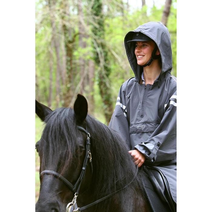Poncho Sentier volwassenen ruitersport donkergrijs met reflecterende stroken