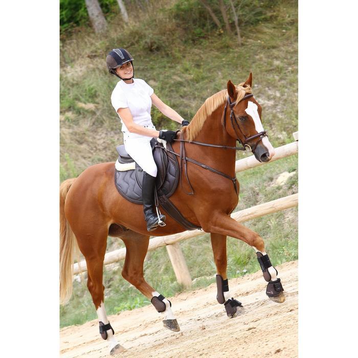 Chemise manches courtes Concours équitation femme blanc broderie argent - 453010