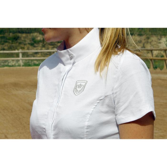 Chemise manches courtes Concours équitation femme blanc broderie argent - 453011