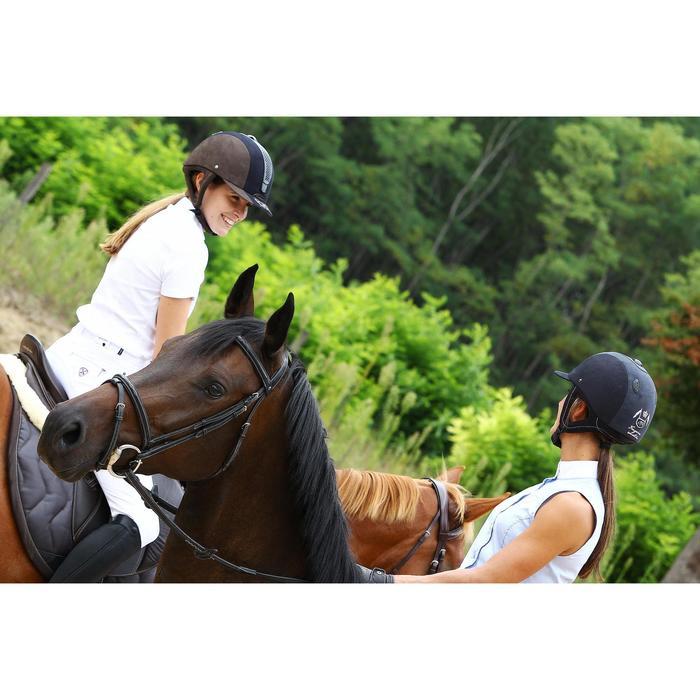 Chemise manches courtes Concours équitation femme blanc broderie argent - 453012