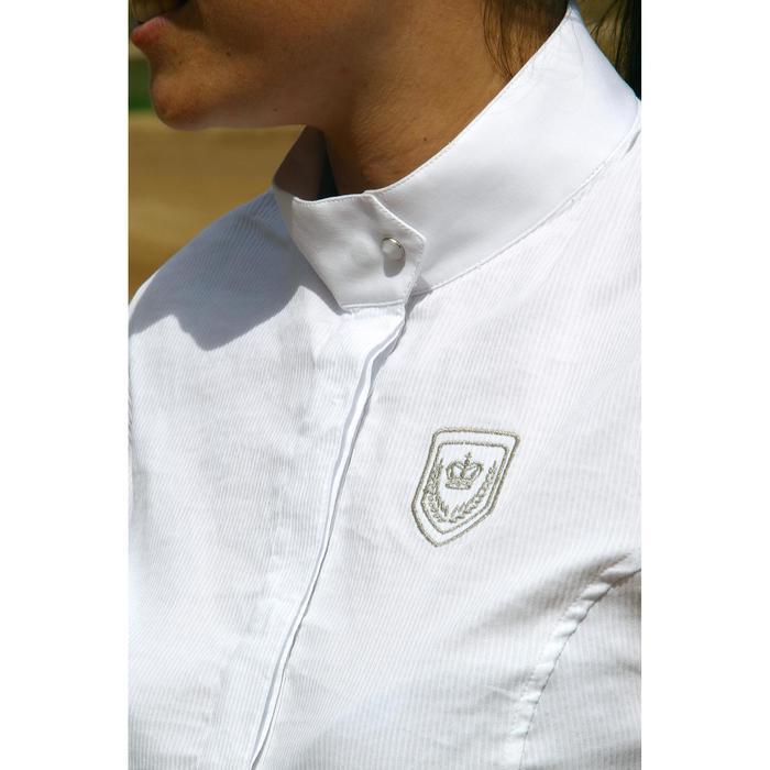 Chemise manches courtes Concours équitation femme blanc broderie argent - 453013