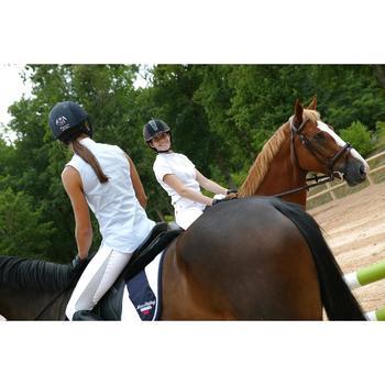 Chemise manches courtes Concours équitation femme blanc broderie argent - 453020