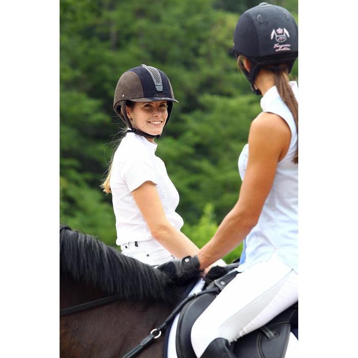 Chemise manches courtes Concours équitation femme blanc broderie argent - 453021