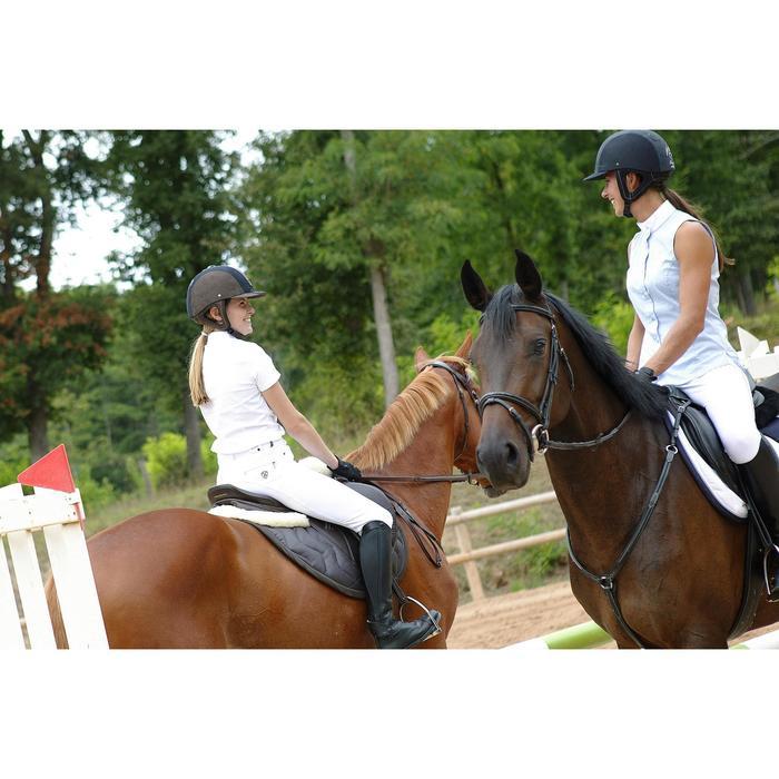 Chemise manches courtes Concours équitation femme blanc broderie argent - 453026
