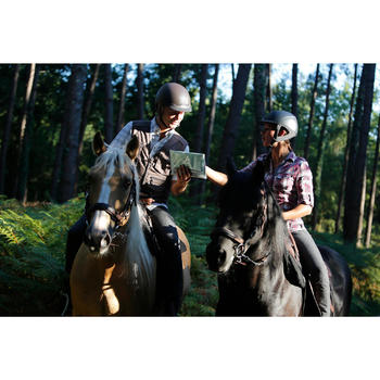 Chemise manches longues à carreaux équitation femme SENTIER rose et blanc - 453363
