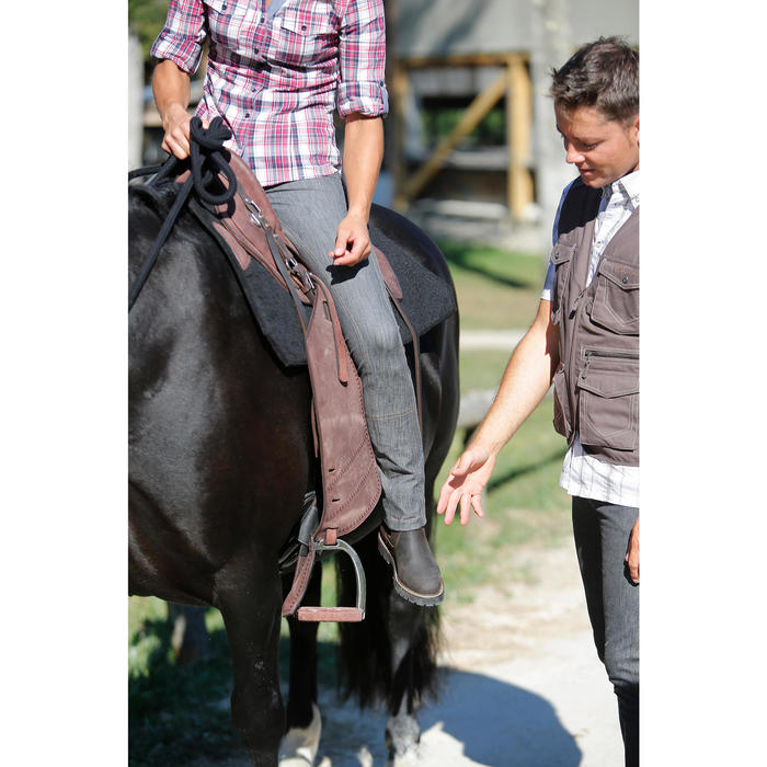 Pantalón Equitación Fouganza Mujer Vaqueros Gris