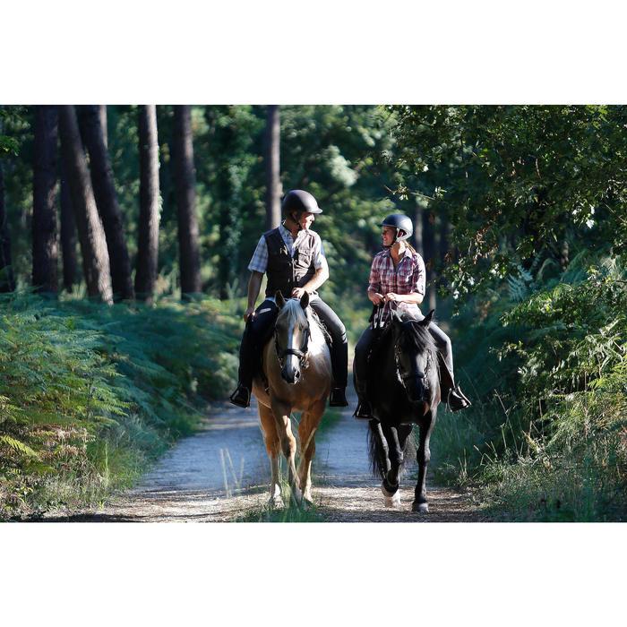 Chemise manches longues à carreaux équitation femme SENTIER rose et blanc - 453365