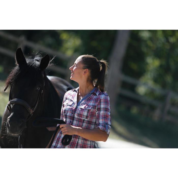 Chemise manches longues à carreaux équitation femme SENTIER rose et blanc - 453367
