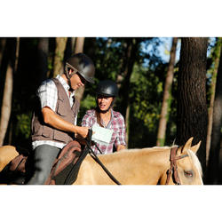 Chemise manches longues à carreaux équitation femme SENTIER rose et blanc