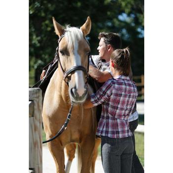 Chemise manches longues à carreaux équitation femme SENTIER rose et blanc - 453369