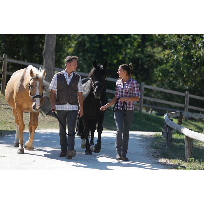 Chemise manches longues à carreaux équitation femme SENTIER rose et blanc - 453370