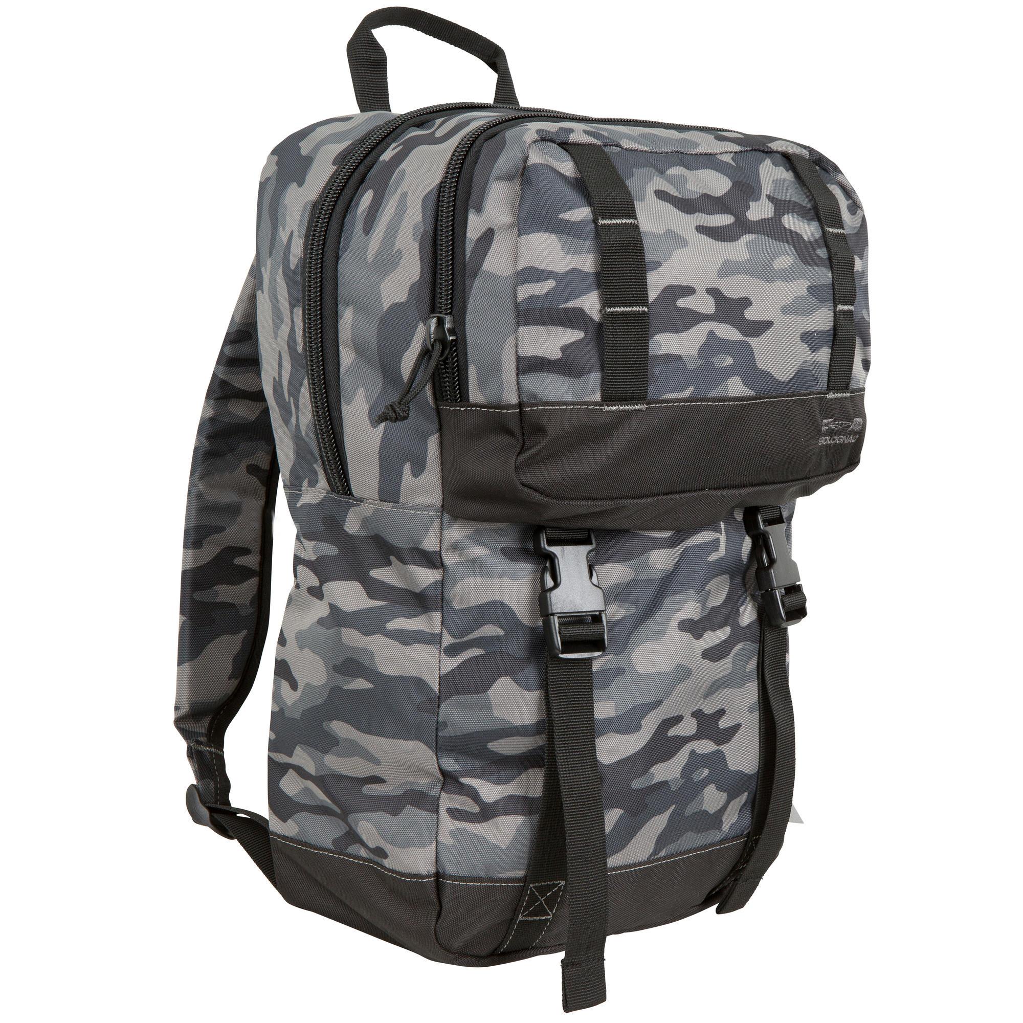 sac a dos de transport 20 litres camouflage noir solognac. Black Bedroom Furniture Sets. Home Design Ideas