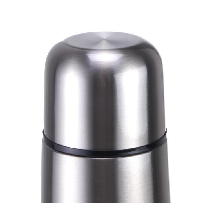 Thermosfles voor trekking rvs 1 liter metaalkleur
