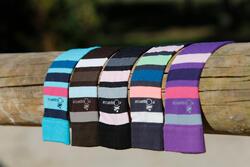 Paardrijkousen Basic kinderen zwart met roze strepen 1 paar - 454008