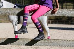 Paardrijkousen Basic kinderen zwart met roze strepen 1 paar - 454077
