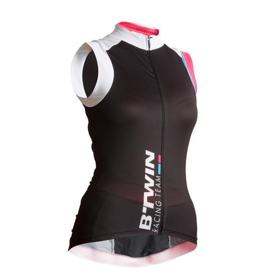Fietsshirt zonder mouwen dames 900 zwart/roze - 455001