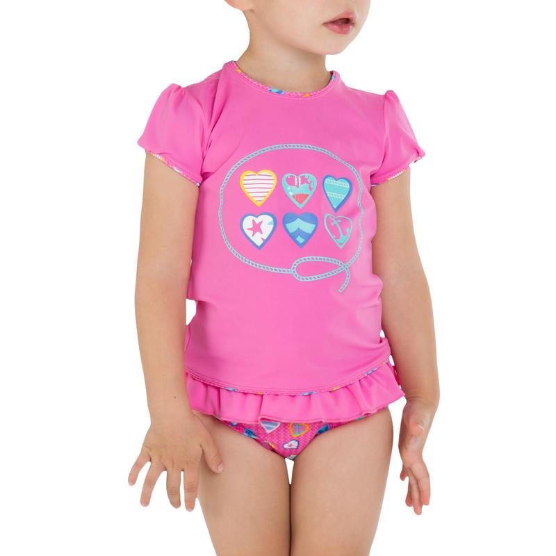 Maillot 2 pièces bébé tankini manches courtes HISEO rose
