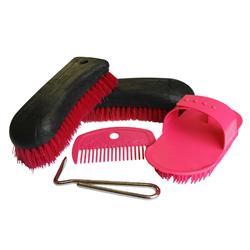 Kit de limpieza adulto equitación SCHOOLING 5 piezas rosa