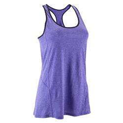 Camiseta larga sin mangas BREATHE+ fitness mujer violeta jaspeado