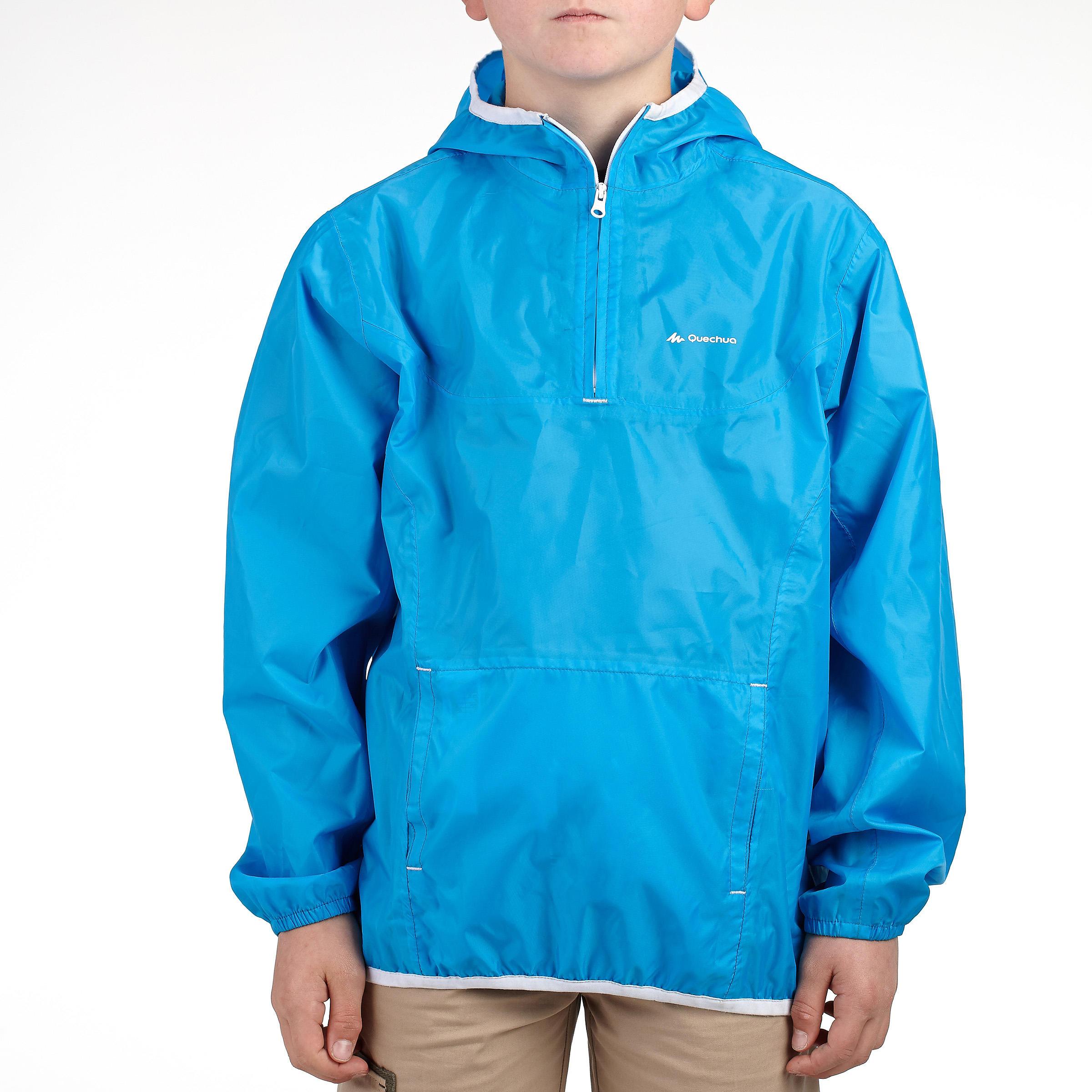 Veste imperméable de randonnée enfant Raincut bleu