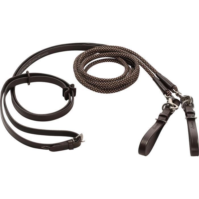 Romeo Horse Riding Leather/Rope Running Reins - Brown