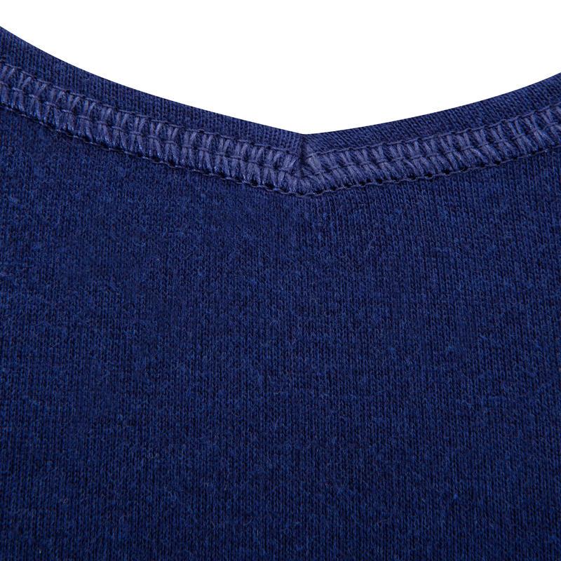 Women's Short-Sleeved Slim-Fit Gym & Pilates T-Shirt - Navy Blue