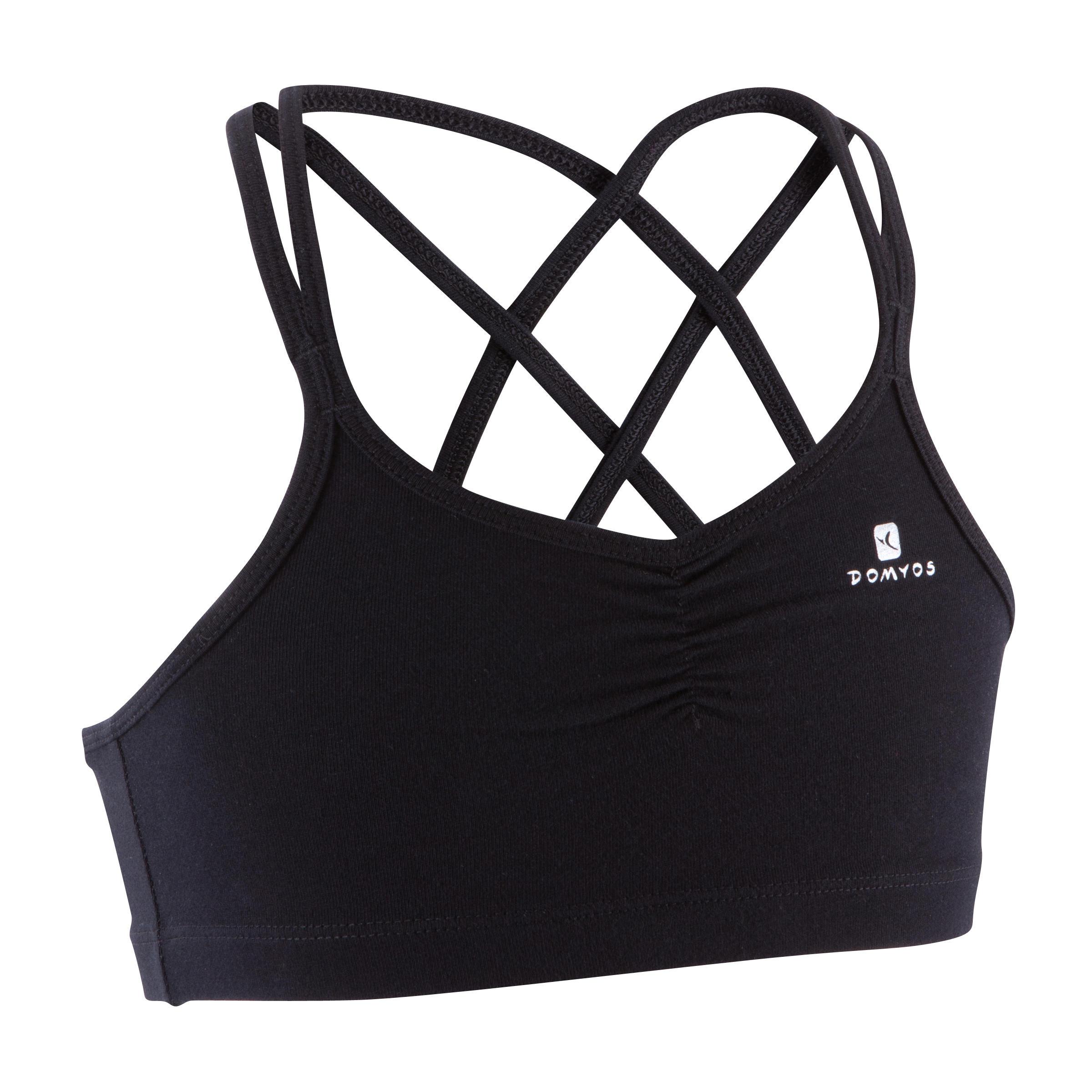 Girls' Dance Sports Bra with Thin Crossover Straps - Black