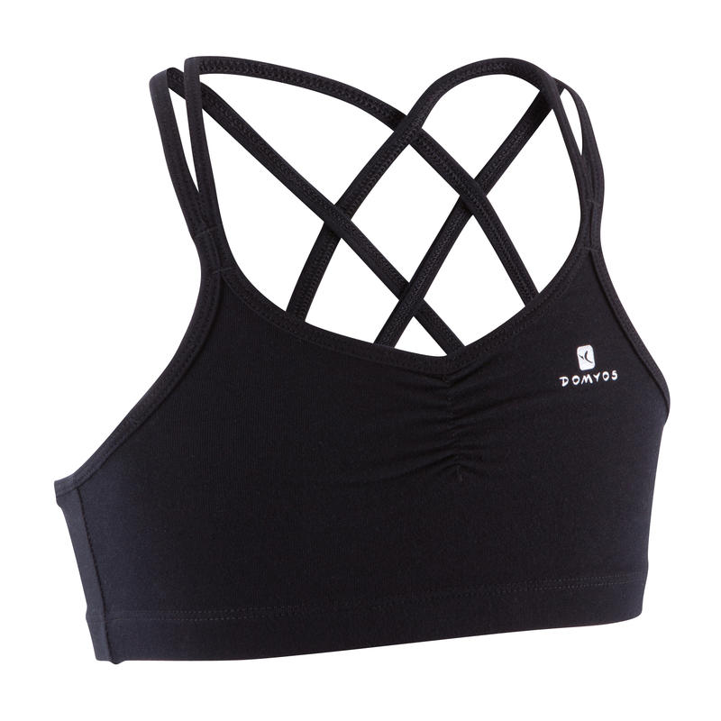 Girls' Dance Sports Bra with Thin Crossover Straps - Black