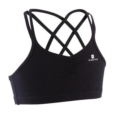 Top deportivo con tirantas finas cruzadas en la espalda danza niña negro