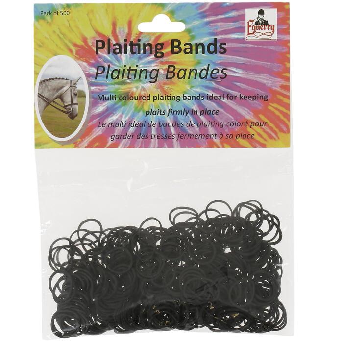 Gomas elásticas negras para trenzar equitación x500