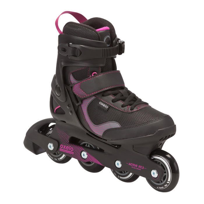 Roller fitness femme FIT 3 noir fuchsia - 464380