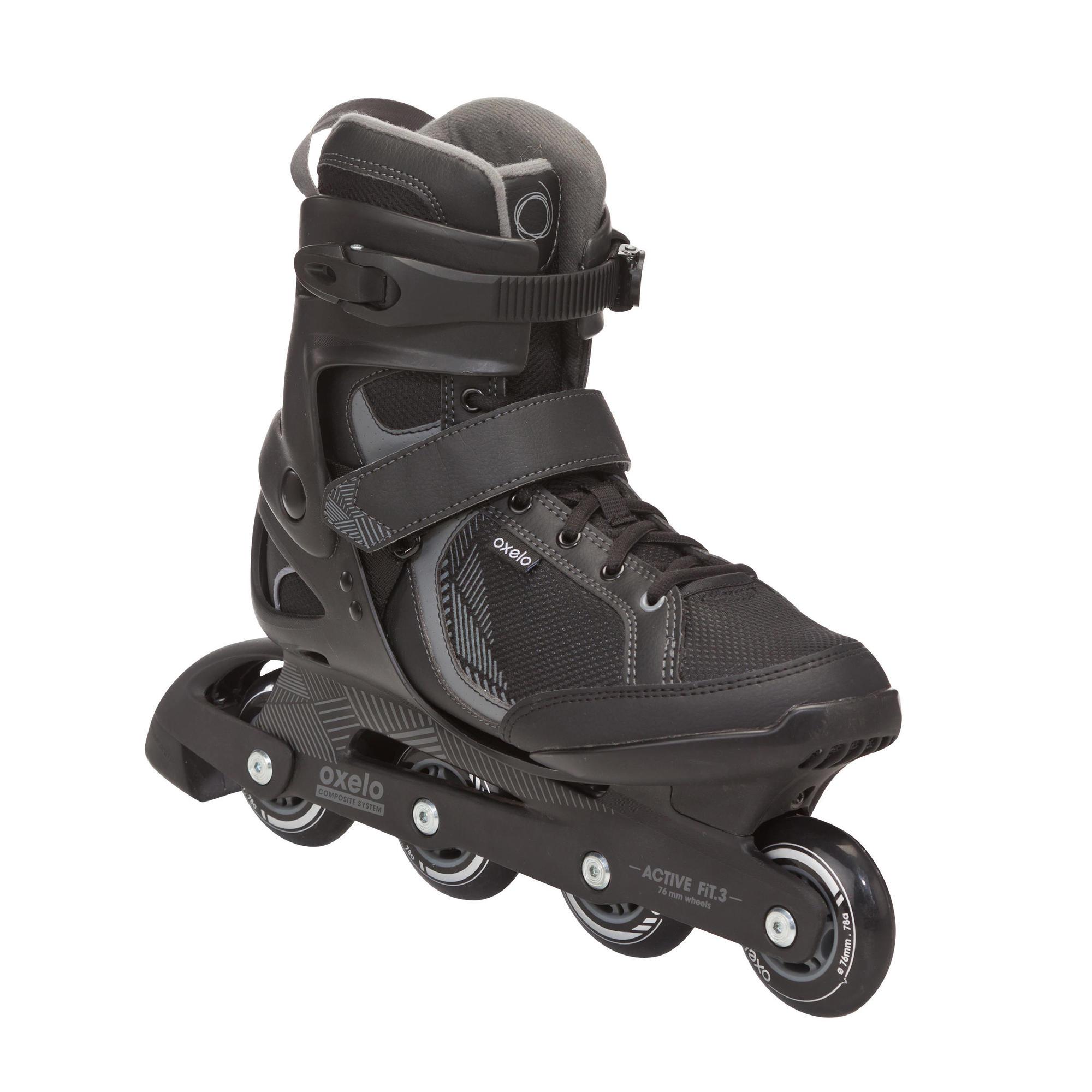 Fit 3 Men S Fitness Inline Skates Black Grey Oxelo