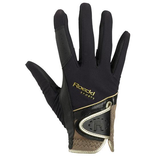 Rijhandschoenen Madrid voor volwassenen, ruitersport, micromesh zwart en goud - 466310