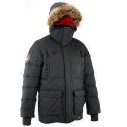 男士防雨羽絨徒步旅行運動派克大衣 Arpenaz 1000 - 黑色