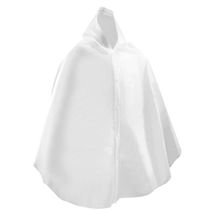 Poncho Equitación Fouganza 100 Niño Blanco Impermeable Botones De Presión