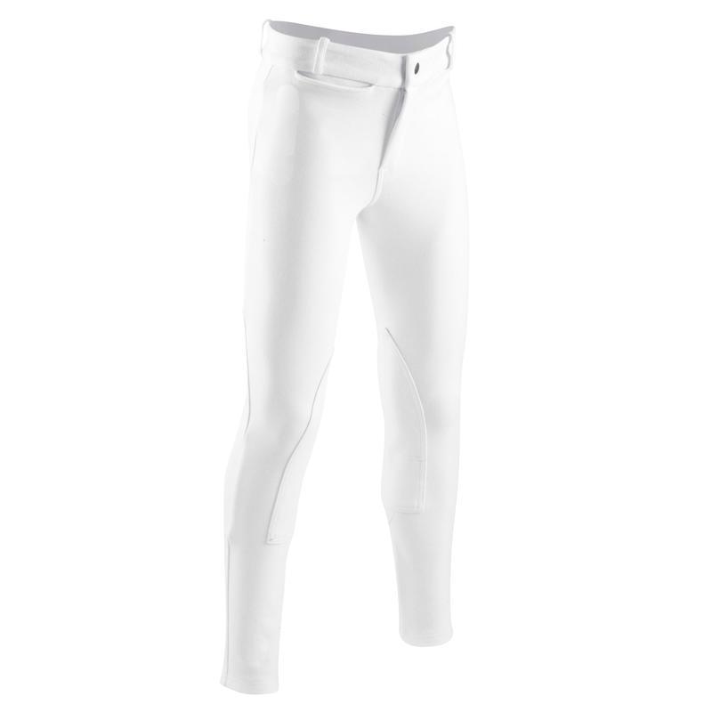 Pantalon de concours équitation enfant100 blanc
